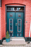 Decorative front door of a house. Front Door of a house in Ribe town, Denmark Stock Image