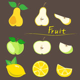 Decorative Fruit, Apple, Pear, Lemon On A Background. Cutting Stage, Vector Illustration. Stock Photo