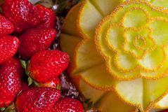 Decorative fruit sculpture. Amazing decorative fruit sculpture made in arad city for weddings Royalty Free Stock Photo
