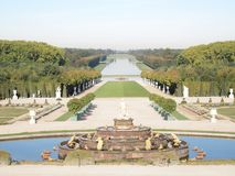 Decorative garden with fountain & Tree Versailles Royalty Free Stock Photo