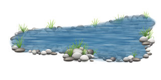 Decorative garden pond. Realistic vector garden pond with stones on the bottom and grass on the shore. Decorative park element for landscape design Stock Images