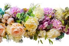 Decorative garland of artificial flowers - roses and hydrangeas. Decorative garland of artificial flowers. Isolated, white background royalty free stock images