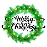 Decorative garland Christmas lights wreath ornament decoration. Christmas lights garland wreath of pine, fir, spruce branches. Christmas tree. Vector ornament Royalty Free Stock Image
