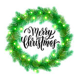Decorative garland Christmas lights wreath ornament decoration. Christmas lights garland wreath of pine, fir, spruce branches. Christmas tree. Vector ornament Royalty Free Stock Images