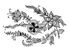 Decorative garland of flowers ink  graphic  illustration Royalty Free Stock Photo