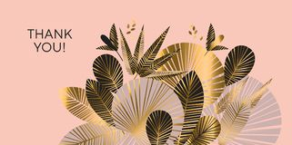 Decorative geometric gold and rosy tropical pattern. Exotic foliage element for header, card, invitation, poster, cover and other web and print design projects stock illustration