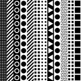 Decorative geometric shapes tiling. Monochrome irregular pattern.  Abstract black and white background. Artisti Royalty Free Stock Image