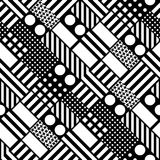 Decorative geometric shapes tiling. Monochrome irregular pattern.  Abstract black and white background. Artisti Stock Photos