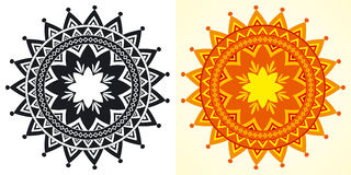 Decorative geometrical rosettes. Decorative vector sun-shaped rosettes in black-and-white and color Royalty Free Stock Photography