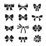 Decorative gift bows black vector icons set Stock Photography