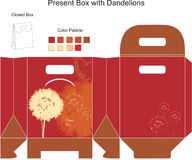 Decorative gift box. With dandelion flowers stock illustration
