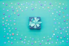 Decorative gift box with a colored background. Top view Flat Lay royalty free stock photo