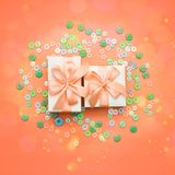 Decorative gift box with a colored background. Top view Flat Lay royalty free stock photos