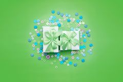 Decorative gift box with a colored background. Top view Flat Lay stock photography