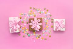 Decorative gift box with a colored background. Top view Flat Lay royalty free stock photography