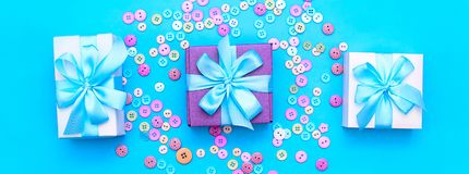 Decorative gift box with a colored background. Top view Flat Lay Royalty Free Stock Images