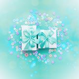 Decorative gift box with a colored background. Top view Flat Lay. Square stock image