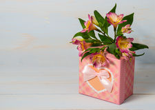 Decorative gift box with flower Royalty Free Stock Photo