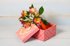 Decorative gift box with flower Royalty Free Stock Images