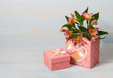 Decorative gift box with flower Royalty Free Stock Image