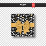 Decorative gift box with gold bow and ribbon. Vector illustration Royalty Free Stock Photography