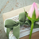 Decorative gift box with pink rose Royalty Free Stock Photography