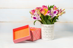 Decorative gift box and pot with flower Stock Photos