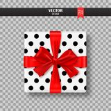 Decorative gift box with red bow and ribbon. Vector illustration. Decorative gift box with red bow and ribbon. Vector illustration Royalty Free Stock Photo