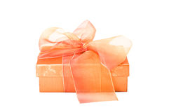 Decorative gift box with a sheer ribbon Royalty Free Stock Photography
