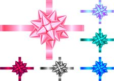 Decorative gift ribbon and bow isolated on white background. Blue, violet, green, pink, red, black holiday decoration.Vector set of decor elements for banner vector illustration