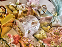 Decorative gifts. Closeup of colorfully wrapped decorative gifts and presents with bows royalty free stock photos