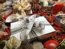 Decorative gifts. Beautifully wrapped decorative gifts and presents with bows royalty free stock photo
