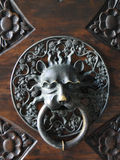 Decorative gilded lion head door knob Royalty Free Stock Photography