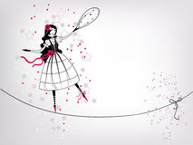 Decorative girl. Decorative postcard with stylized girl character dancing on rope Stock Photography