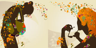 Decorative girls Royalty Free Stock Images