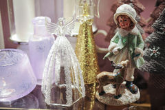 Decorative Glass angel Christmas decoration. Close up stock photography