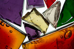 Decorative glass shards. Still life decorative glass fragments royalty free stock photos
