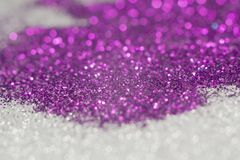 Purple and Silver Glitter. Decorative glitter silver and purple as abstract background Royalty Free Stock Photos
