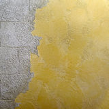 Decorative glosse plaster mix with smooth surface stonework Stock Photos