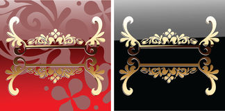 Decorative Glow Ornate Red And Black Banner. Royalty Free Stock Photos