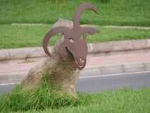 A decorative goat in the streets on Fuerteventura Stock Photo