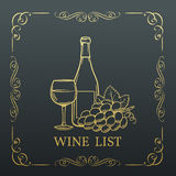 Decorative gold Banner Wine design . Royalty Free Stock Images