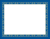 Decorative gold and blue border Royalty Free Stock Images