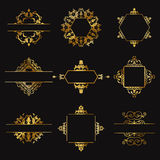 Decorative gold design elements Royalty Free Stock Photography