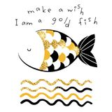 Decorative gold fish vector illustration. Card with slogan. Print for t shirts, cards stock illustration