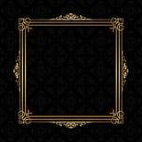 Decorative frame on a Damask pattern background. Decorative gold frame on a Damask pattern background Royalty Free Stock Photos