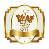 Decorative gold frame label with grapevine Stock Photos