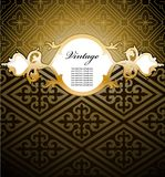 Decorative gold frame on seamless. Vector Royalty Free Stock Photos