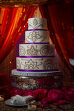 Decorative Gold and Purple Indin Wedding Cake Stock Image