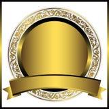 Decorative gold round plate Stock Photos